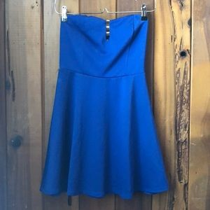 Small Charlotte Russe Blue Strapless Mini Dress